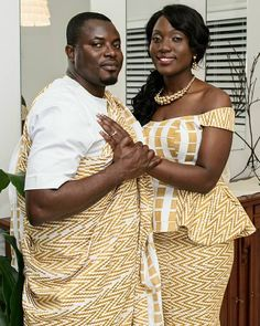 White and Gold Kente Cloth Gown by SheByBena Photo Source: I Do Ghana (https://www.facebook.com/Idoweddingz/?fref=photo)
