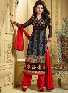 Shop online black georgette party wear salwar kameez online, this party wear salwar kameez is perfect for any occasion, this party wear salwar kameez is prettified with lace border, patch border work, resham embroidery and zari work which gives trendy loo Pakistani Salwar Kameez Designs, Latest Salwar Kameez Designs, Salwar Dress, Salwar Suits, Punjabi Suits, Anarkali, Buy Suits Online, Bollywood Suits, Salwar Kameez Online Shopping