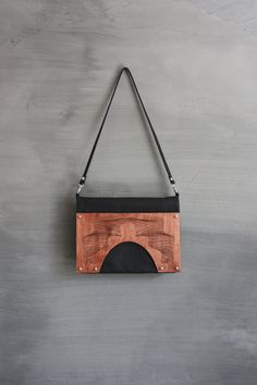 Fold over leather & wood bag by mariekaratsma on Etsy, €98.00