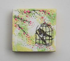 Spring Time BIRDCAGE Original Encaustic Painting by susannajarian