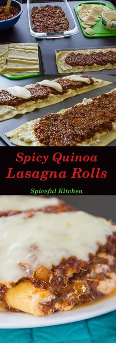 Spicy Quinoa Lasagna Rolls come together quick and easy thanks to a semi-homemade sauce done in the slow cooker and contains plenty of melty cheese! This vegetarian dish will satisfy your biggest meat eater.