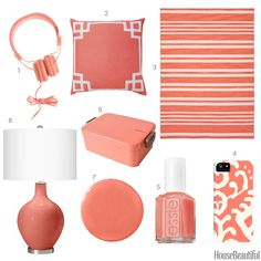 Coral Pink Home Accessories - Coral Home Decor - House Beautiful  YEAH, MIAMI AND THE MIAMI DOLPHINS TEAM....CORAL AND TURQUOISE.   ASHLEYYJAMES