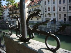 Dragons in Ljubljana, made by blacksmiths from Kropa