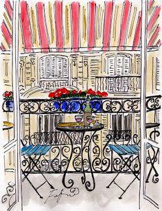 Fifi Flowers Painting du Jour Gallery: Striped Canvas Balcony Paris
