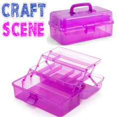 We will always help you to have a 100% positive happy buying experience. Indulge yourself with the Purple Craft Scene Caddy. Purple Transclucent. Carry handle. 33x15x20 cm. | eBay!