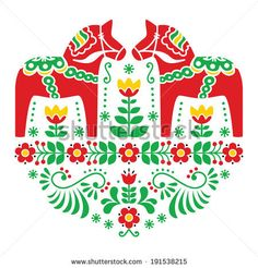 Buy Swedish Dala or Daleclarian Horse Folk Pattern by RedKoala on GraphicRiver. Traditional Scandinavian background – Dala red hisses with green pattern isolated on white FEATURES: Vector Sha. Swedish Embroidery, Folk Embroidery, Embroidery Patterns, Scandinavian Pattern, Scandinavian Folk Art, Swedish Christmas, Scandinavian Christmas, Swedish Tattoo, Horse Pattern