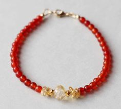 Carnelian Bracelet, Carnelian Gold Filled Bracelet, Red Crystal Bracelet, Orange…