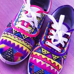 DIY canvas shoes. Just add colour to cheap canvas shoes with sharpie!