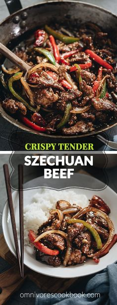 Szechuan beef - Tender crispy beef cooked in a bold sweet sour spicy sauce with peppers and onions. Learn how to make crispy beef without deep-frying! Wok Recipes, Asian Recipes, Dinner Recipes, Cooking Recipes, Frying Steak Recipes, Chinese Beef Recipes, Healthy Beef Recipes, Stir Fry Recipes, Asian Foods