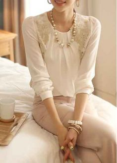 5522971acaf Lace Splicing White Chiffon T Shirt on sale only US 16.66 now
