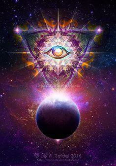 Cosmic Eye by Lilyas on DeviantArt Psychadelic Art, Sacred Geometry Art, Mystique, Hippie Art, Visionary Art, Eye Art, Fractal Art, Vampires, Oeuvre D'art