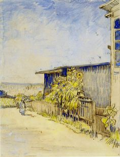 Path in Montmartre with Sunflowers, Vincent van Gogh 1887