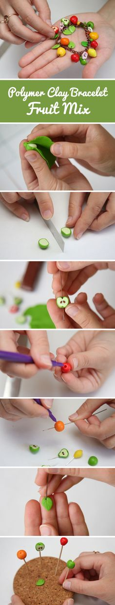 "Polymer clay bracelet ""Fruit mix"" tutorial 