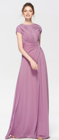 Modest wisteria bridesmaid dresses with short sleeves long bridesmaid dress