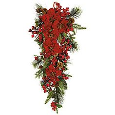 @Overstock - Poinsettia teardrop silk flower arrangement cascades from its hanging loop Holiday accent piece features realistic greenery Poinsettia teardrop arrangement is ideal to hang at home on a wall, door or mantelhttp://www.overstock.com/Home-Garden/Poinsettia-Teardrop-Silk-Flower-Arrangement/3656870/product.html?CID=214117 $45.04