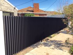 Aluminium Fencing Strathmore: This project is an aluminium fence with aluminium pedestrian gates located on both sides of the. Aluminium Fencing, Aluminum Fence, Fence Landscaping, Pool Fence, Canopy Outdoor, Outdoor Decor, Modern Fence Design, Timber Battens, House Gate Design