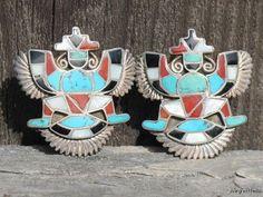 Vintage Sterling Silver Zuni Indian Turquoise Coral Knifewing War God Cufflinks   eBay
