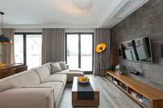 Wystrój pokoju dziennego z kuchnią i jadalnią Tv Wall Design, Interior Design Studio, Dining Room Design, Couch, Living Room, Architecture, Furniture, Home Decor, Kitchen