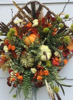 Your place to buy and sell all things handmade Fall Door Decorations, Thanksgiving Decorations, Fireplace Decorations, Thanksgiving Wreaths, Autumn Wreaths For Front Door, Holiday Wreaths, Door Wreaths, Grapevine Wreath, Tobacco Basket Decor