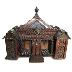 House Shaped Tramp Art Box, c1900.... Ames Gallery