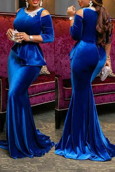 African wedding reception mermaid prom velvet dress/ African women dress/African clothing for women/blue evening velvet dress / prom dresses African Lace Styles, African Lace Dresses, Latest African Fashion Dresses, African Dresses For Women, African Attire, African Women, Ankara Fashion, African Style, Ankara Styles