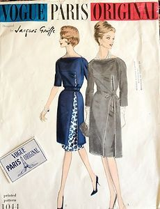 Vintage 60s Vogue Paris Original Jacques Griffe Dress Pattern 1044 w/ Label
