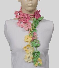 Colorful Scarf Crochet Scarf Long Scarf Crochet belt by CROCHETTT, $25.00