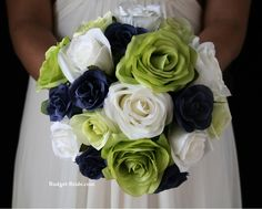 Navy blue wedding flowers. Complete wedding flower package with Bride, Maid of Honor, Throw Bouquet, Groom and Bestman for only $100