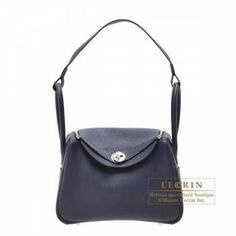 31546eac0b98 Hermes Lindy bag 26 Blue nuit Clemence leather Silver hardware