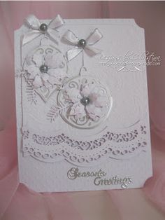Flowers, Ribbons and Pearls: White Christmas .more cards Cut on Silhouette Cameo Cas Christmas Cards, Holiday Cards, Handmade Christmas, Christmas Crafts, Christmas Ideas, Poinsettia Cards, Spellbinders Cards, Nouvel An, White Christmas