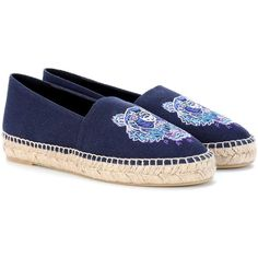 Kenzo Embroidered Espadrilles (540 BRL) ❤ liked on Polyvore featuring shoes, sandals, blue, blue sandals, kenzo shoes, kenzo, blue espadrilles and embroidered sandals