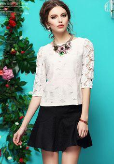 White Half Sleeve Floral Crochet Lace Blouse 0.00