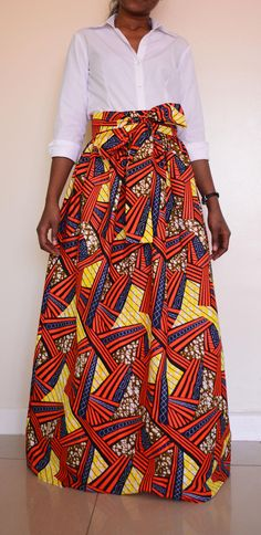 Africain Print skirt  jupe maxi delphine avec noeud cravate /