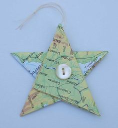 Star Christmas ornaments, upcycled atlas paper star, Christmas decor, Christmas star, tree decorations, recycled stars, folded paper stars by Rethreading on Etsy