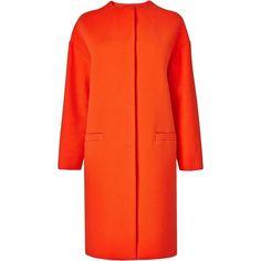 L.K. Bennett Daytona Cotton Cocoon Coat (1.250 RON) ❤ liked on Polyvore featuring outerwear, coats, jackets, coats & jackets, dresses, mandarin, cotton coat, cocoon coat, orange coat and l.k.bennett