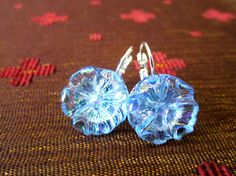 Vintage glass BUTTON earrings in iridescent blue, by SewSandyShop, $16.00