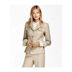 Brooks Brothers Plaid Wool-Linen Jacket (29,970 INR) ❤ liked on Polyvore featuring outerwear, jackets, plaid wool jacket, button jacket, white linen jacket, linen jacket and brooks brothers