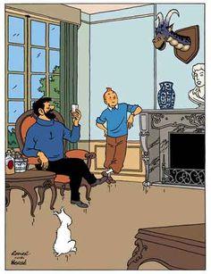 Hors texte du Lac de la sorcière, par Rodier. copyright Moulinsart car le personnage appartient à Hergé.