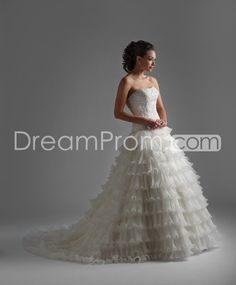 Fabulous Strapless A-line  Floor-length Tiered Chapel Train Wedding Dresses