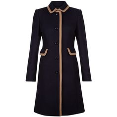 Hobbs Gweneth Coat, Navy Camel ($295) ❤ liked on Polyvore featuring outerwear, coats, jackets, navy wool coat, navy blue coat, woolen coat, blue wool coat and navy blue wool coat