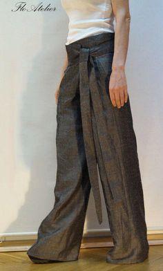 Slouchy linen Pants Drop crotch pants Casual pants Linen pants Drop Crotch  trousers Harem Pants Wide Leg Pants Gray Linen Pants F1206 1863daf44e