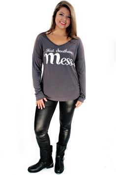 Hot Southern Mess T-Shirt - Girl, you are one HOT SOUTHERN MESS, and you love it!!! So, do we!! And there is no denying it!! So rep your roots in this cozy and lightweight slate gray long sleeve tee!! You won't regret it! Great paired with jeans and boots now. And cutoffs in the summer!! Cowgirl boots are always a... - available online at http://www.envyboutique.us/shop/hot-southern-mess-t-shirt/ #Envy #Boutique #chic #fashion #fashiontrends