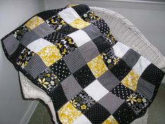 Black White Gray and Yellow Lap Quilt