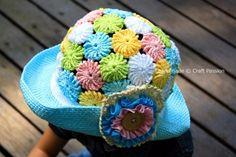 Free Summer Hats to Crochet for Kids -crochet yoyo puff summer hat Crochet Diy, Bonnet Crochet, Crochet Kids Hats, Crochet Girls, Crochet Beanie, Modern Crochet, Crochet Pattern Central, Crochet Patterns, Free Pattern