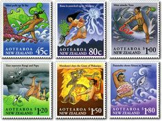 Six colourful stamps representing Maori myths of New Zealand. The Maori had no written language and thus their history and l. Maori Legends, Maori Designs, Up To The Sky, Year Of The Dragon, Maori Art, Kiwiana, First Day Covers, Toddler Art, Reptiles And Amphibians