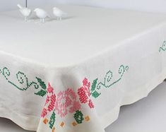 vintage linen tablecloth, hand embroidered, small hemstitch tablecloth, cross stitch, vintage embroidery, white pink green, 48 x50, romantic