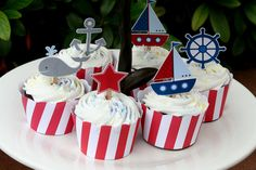 Nautical Birthday Party Cupcake Toppers Set of by PaperPartyParade Nautical Food, Nautical Cake, Nautical Party, Mickey Birthday, Baby Boy Birthday, Birthday Parties, Sailor Birthday, Sailor Baby Showers, Baby Boy Shower
