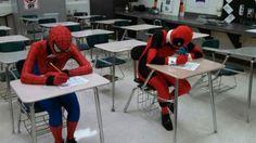 Even superheros have to do their homework