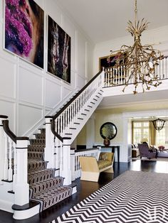 Painted Stairs Ideas #PaintedStairs  Painted Basement Stairs with Runner Ideas