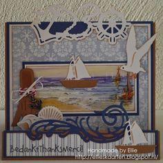 Ellie's Kaarten Nautical Cards, Nautical Theme, Pinterest Cards, Marianne Design Cards, Beach Cards, Sea Theme, Die Cut Cards, Box Design, Diy Cards
